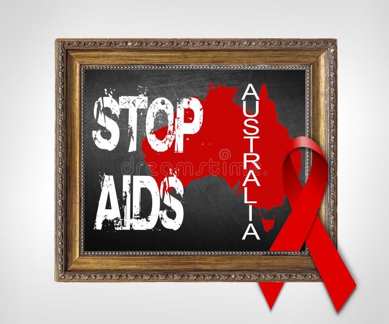 Концепция Международного дня СПИДА СПИДА СТОПА Австралии с красной лентой стоковые фото