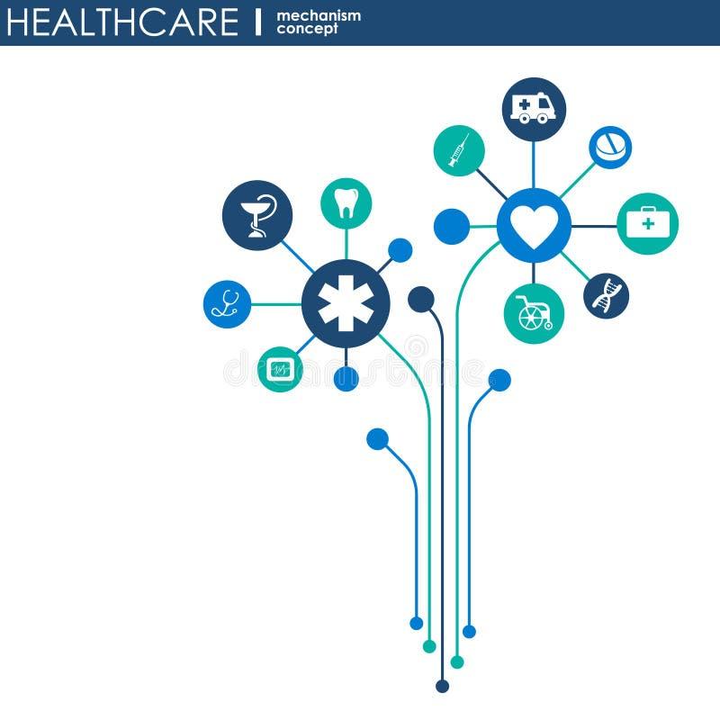 Концепция механизма здравоохранения Абстрактная предпосылка с соединенными шестернями и значками для медицинской, здоровьем, стра бесплатная иллюстрация
