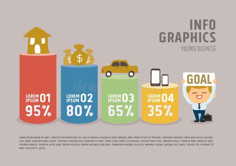 Концепция мечты бизнесмена графиков информации иллюстрация штока
