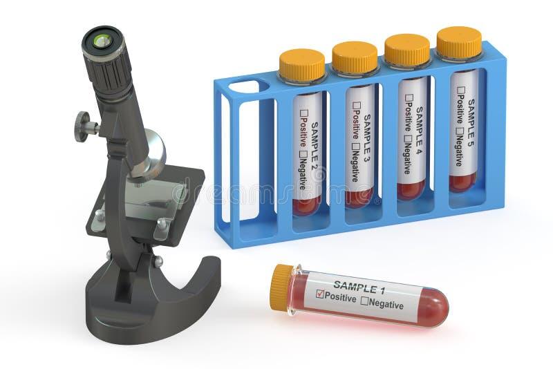 Концепция, микроскоп и пробирки исследования вируса с кровью 3d иллюстрация штока