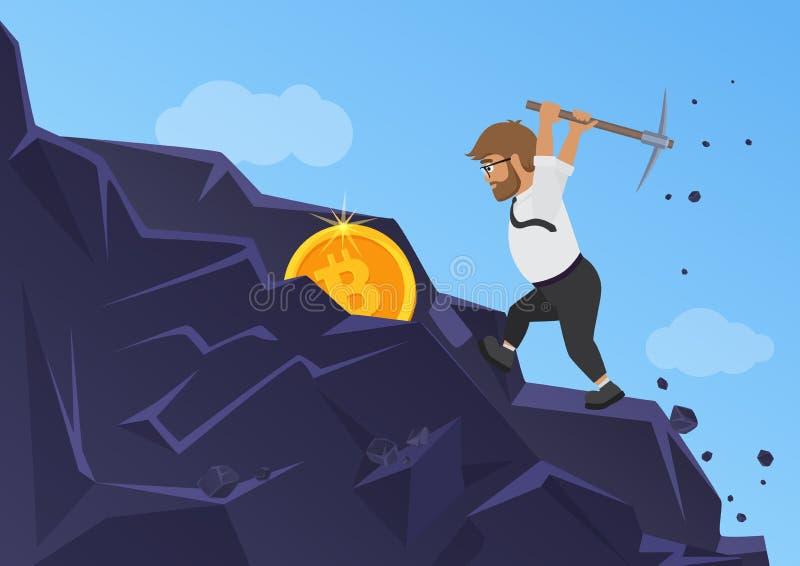 Концепция минирования Bitcoin Монетка бизнесмена выкапывая от утеса иллюстрация вектора