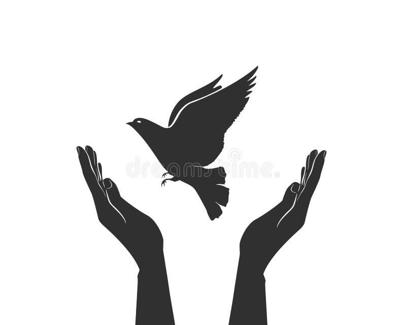 Концепция мира без рук и голубя войны иллюстрация вектора