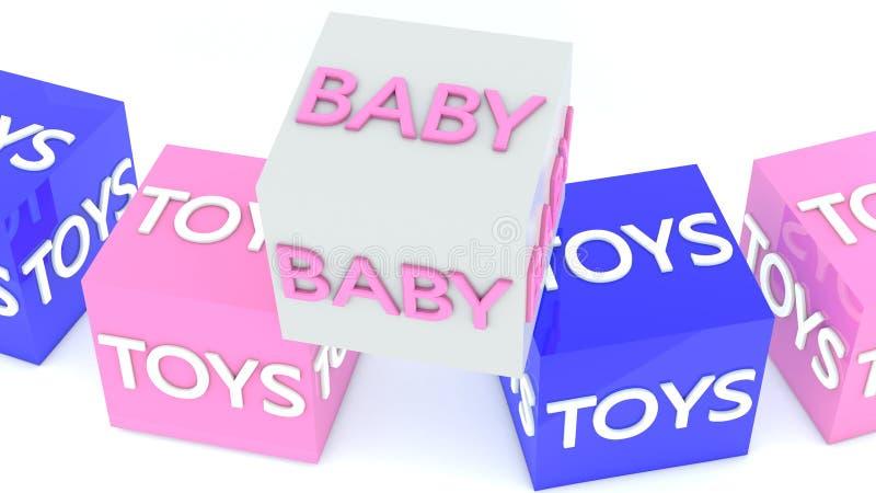 Концепция младенца и игрушки на кубах в голубом и розовом бесплатная иллюстрация