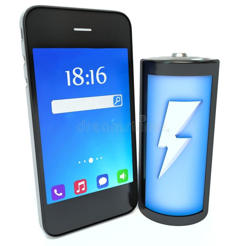 Концепция мобильного телефона поручая Smartphone и батарея бесплатная иллюстрация