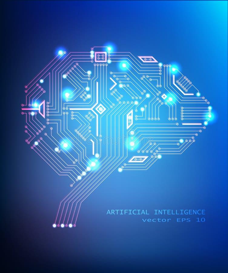 Концепция мозга вычислительной цепи вектора на сини бесплатная иллюстрация