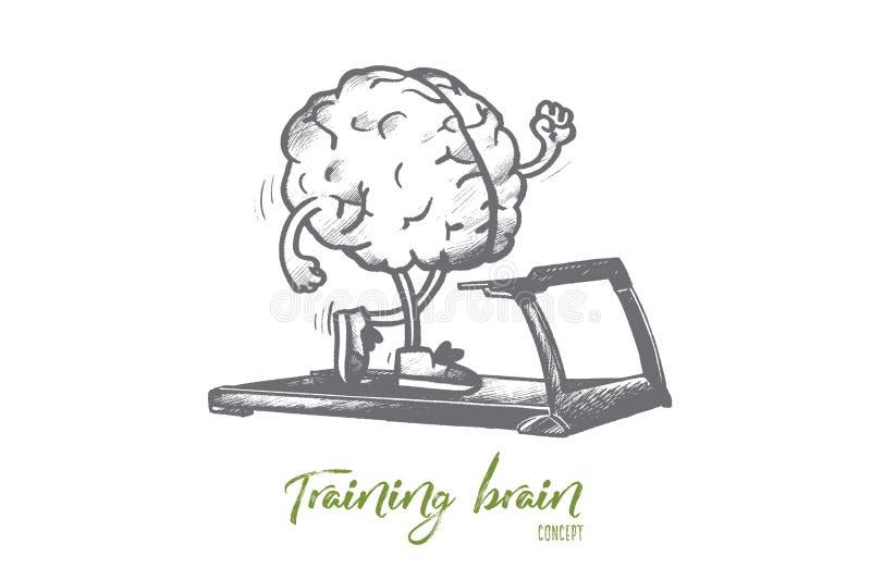 Концепция мозга тренировки Вектор нарисованный рукой изолированный бесплатная иллюстрация