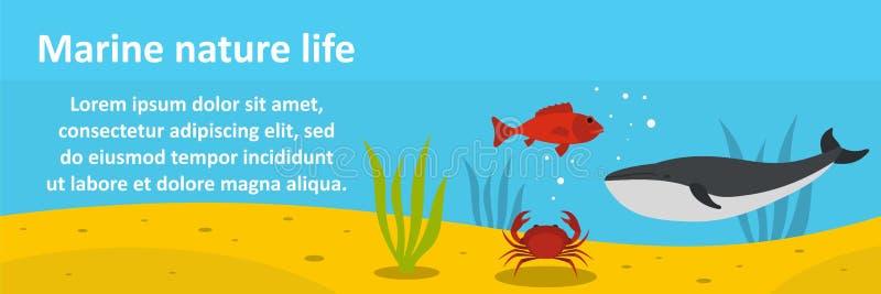 Концепция морского знамени жизни природы горизонтальная иллюстрация штока