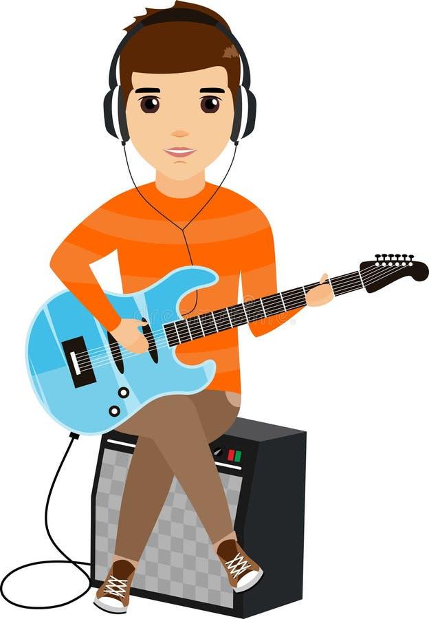 Концепция молодого человека играя электрическую гитару сидя на усилителе ванта счастливая пушка командира шаржа его секундомер во иллюстрация вектора