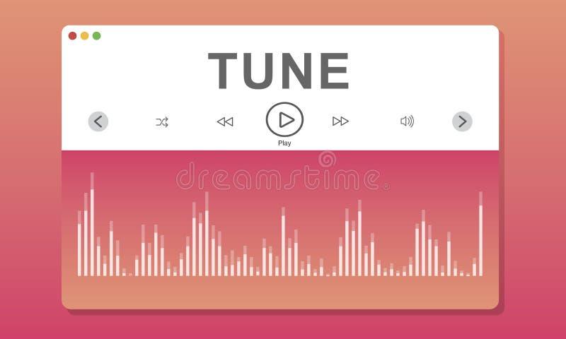 Концепция музыки мелодии программы Wareform иллюстрация штока