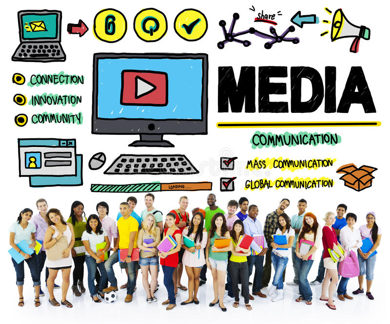 Концепция мультимедиа связи беспорядка приборов средств массовой информации стоковое фото