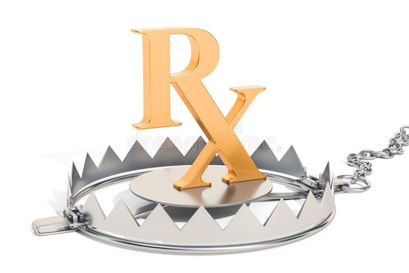 Концепция наркомании, ловушка медведя с символом рецепта 3D r иллюстрация вектора