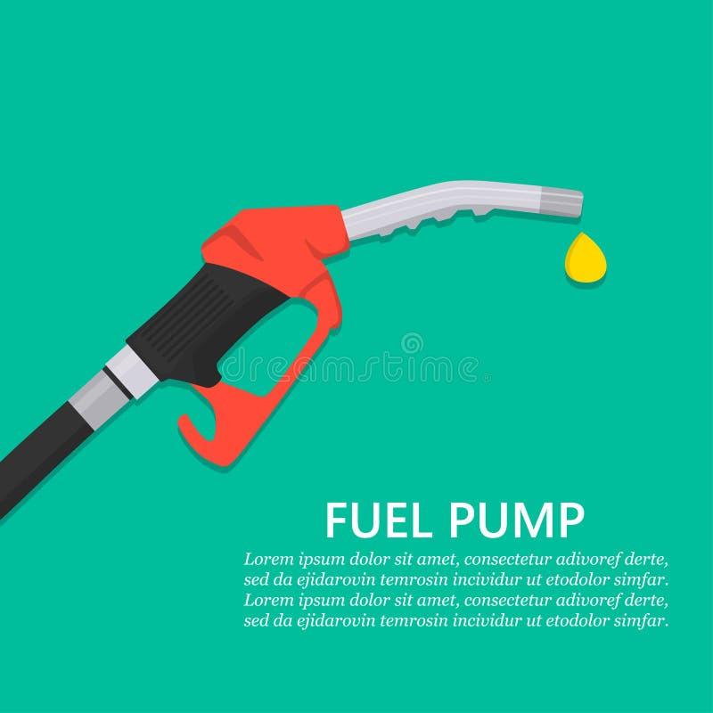 Концепция насоса для подачи топлива Сопло бензиновой колонки с падением в плоском дизайне иллюстрация штока