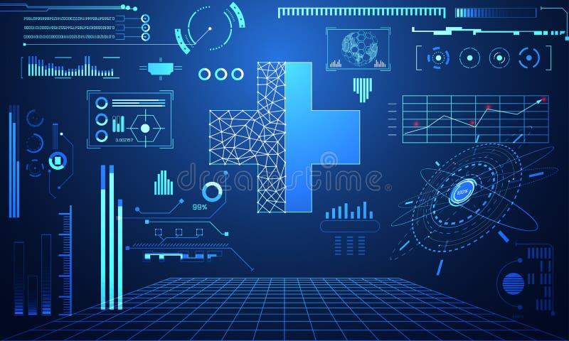 Концепция науки абстрактной технологии плюс здоровье данных цифровое: иллюстрация вектора