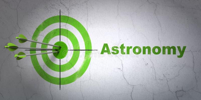 Концепция науки: цель и астрономия на предпосылке стены иллюстрация вектора