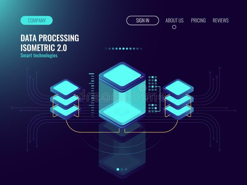 Концепция науки цифров, комната сервера, хранение облака, обмен данными, компьютерная память, абстрактное освещение равновеликое, иллюстрация штока