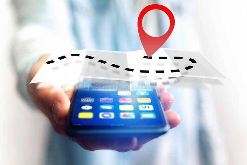 Концепция находить распорядок на карте онлайн - технология co стоковые фото