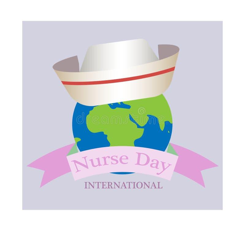 Концепция на день 12-ое мая медсестры, приветствуя знамя на изолированной предпосылке стоковая фотография