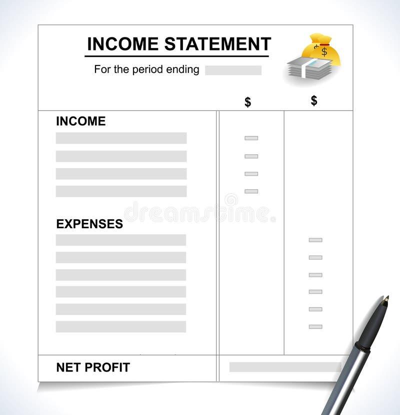Концепция налоговой декларации отчета о приходах, с ручкой и значки денег иллюстрация вектора