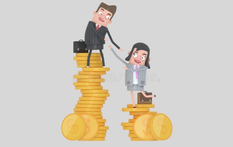 Концепция неравенства дохода Кучи человека и женщины взбираясь монеток изолировано бесплатная иллюстрация