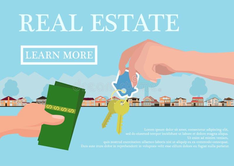Концепция недвижимости вектора в плоском стиле - рука businessmans давая ключи и покупатель дают деньги, знамя сети, дома для иллюстрация вектора