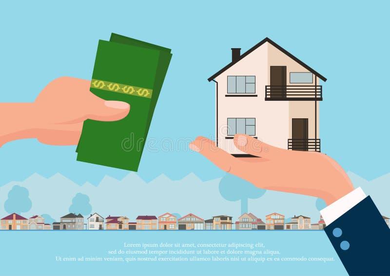 Концепция недвижимости вектора в плоском стиле - рука businessmans давая дом и покупатель дают деньги, знамя сети, дома для иллюстрация штока