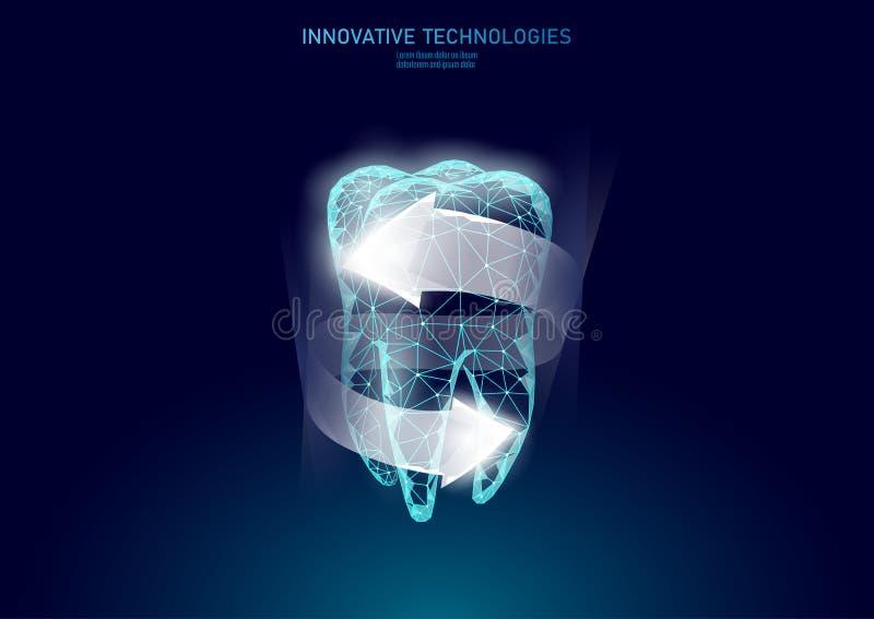 Концепция низкого поли предохранения от зуба медицинская Забеливать здравоохранение реконструкции эмали зубной пасты Полигонально бесплатная иллюстрация