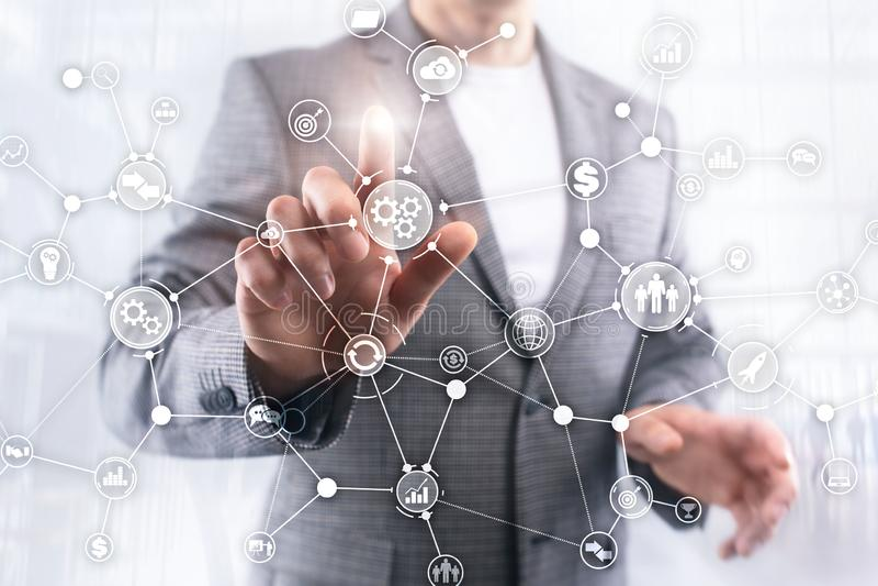 Концепция нововведения автоматизации диаграммы потока операций структуры бизнес-процесса промышленная на мультимедиа виртуального стоковые изображения