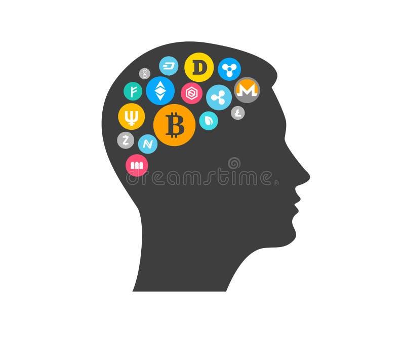 Концепция нововведения Bitcoin и Cryptocurrency с головным силуэтом иллюстрация штока