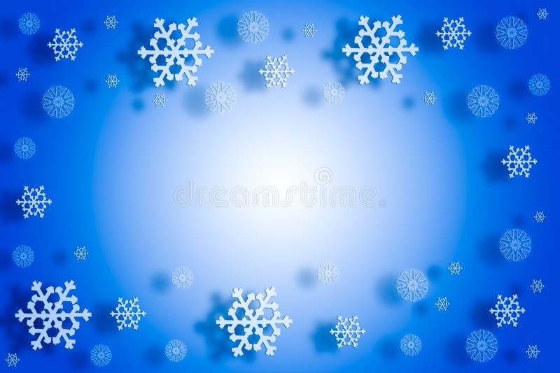 2019 концепция Нового Года рождества, падая снежинки с тенью на голубой предпосылке градиента стоковое изображение rf