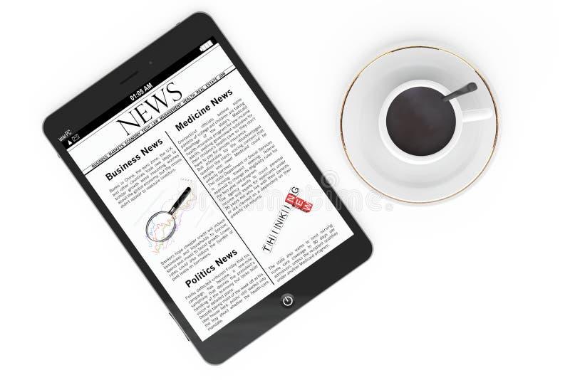 Концепция новостей утра. Современные ПК и чашка кофе таблетки стоковые фото