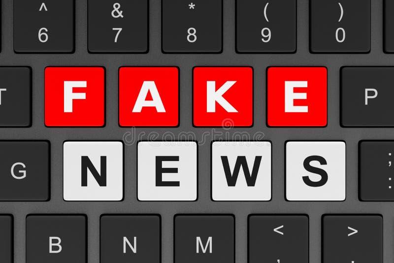 Концепция новостей фальшивки клавиатуры компьютера иллюстрация вектора
