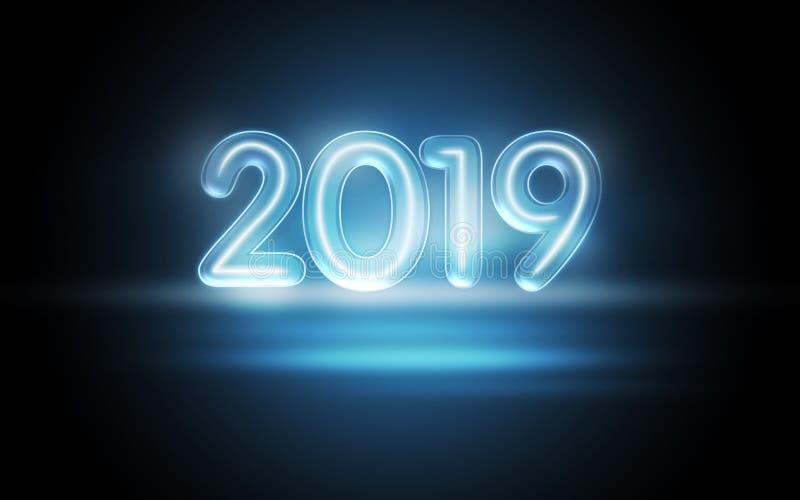 Концепция 2019 Новых Годов с красочными неоновыми светами стоковые фотографии rf