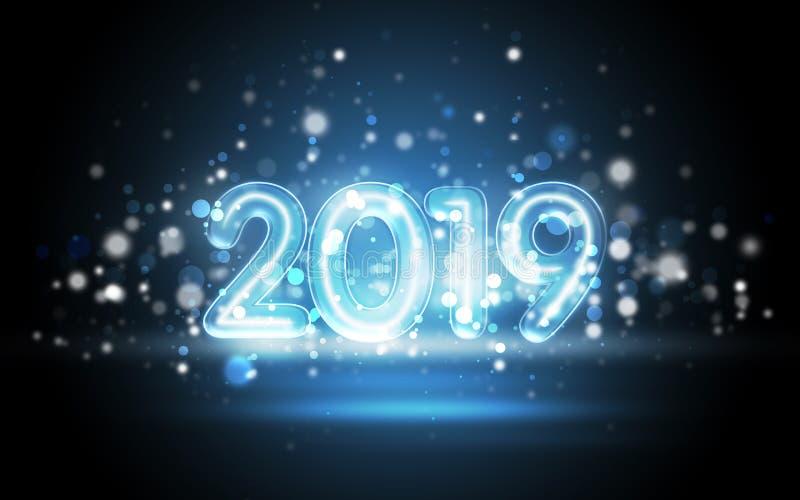 Концепция 2019 Новых Годов с красочными неоновыми светами стоковое фото