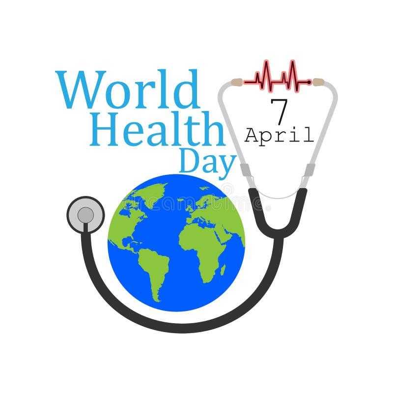 Концепция дня здоровья мира с стетоскопом доктора и глобусом земли бесплатная иллюстрация
