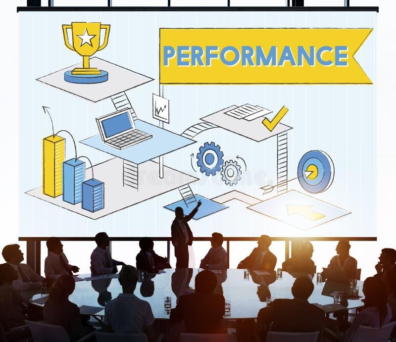 Концепция обзора эффективности улучшения уровня производительности стоковое фото