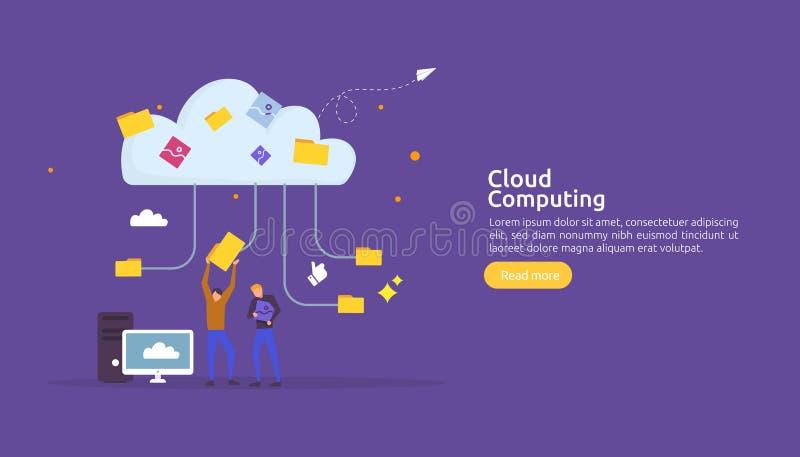 Концепция облака вычисляя Хостинг сетевых услуг или онлайн системы хранения базы данных с характером людей для страницы посадки с бесплатная иллюстрация