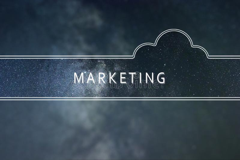 Концепция облака слова маркетинга Предпосылка космоса иллюстрация штока