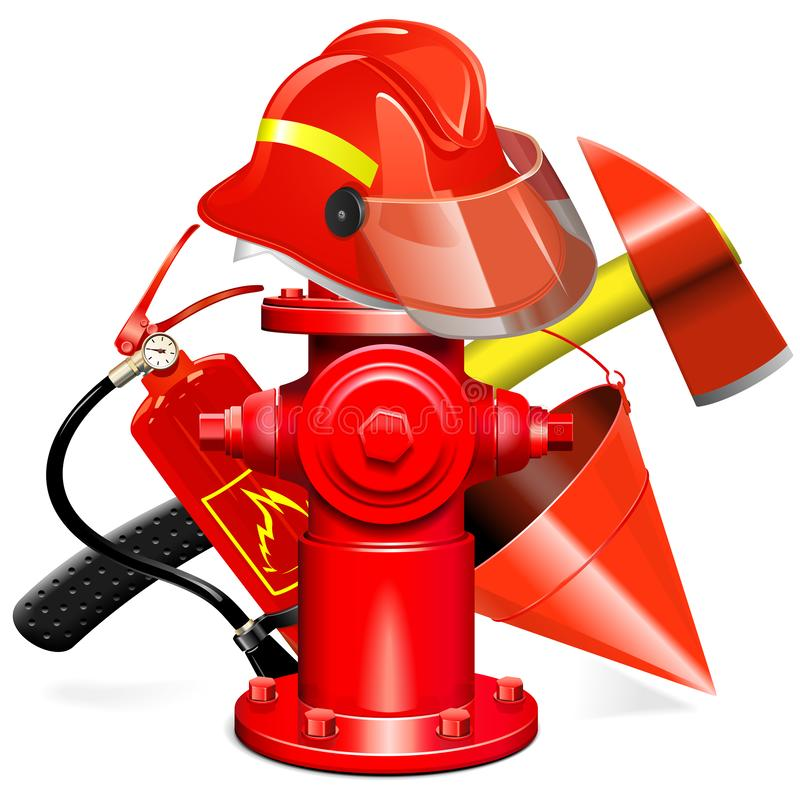 Концепция оборудования предохранения огня вектора с гидрантом иллюстрация вектора