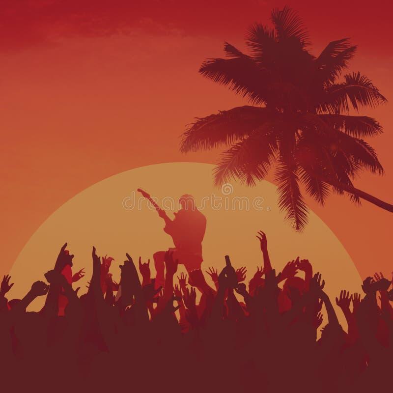 Концепция ободрения совершителя партии пляжа музыкального фестиваля лета иллюстрация вектора