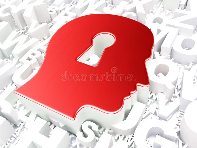 Концепция образования: Голова с Keyhole на алфавите иллюстрация штока