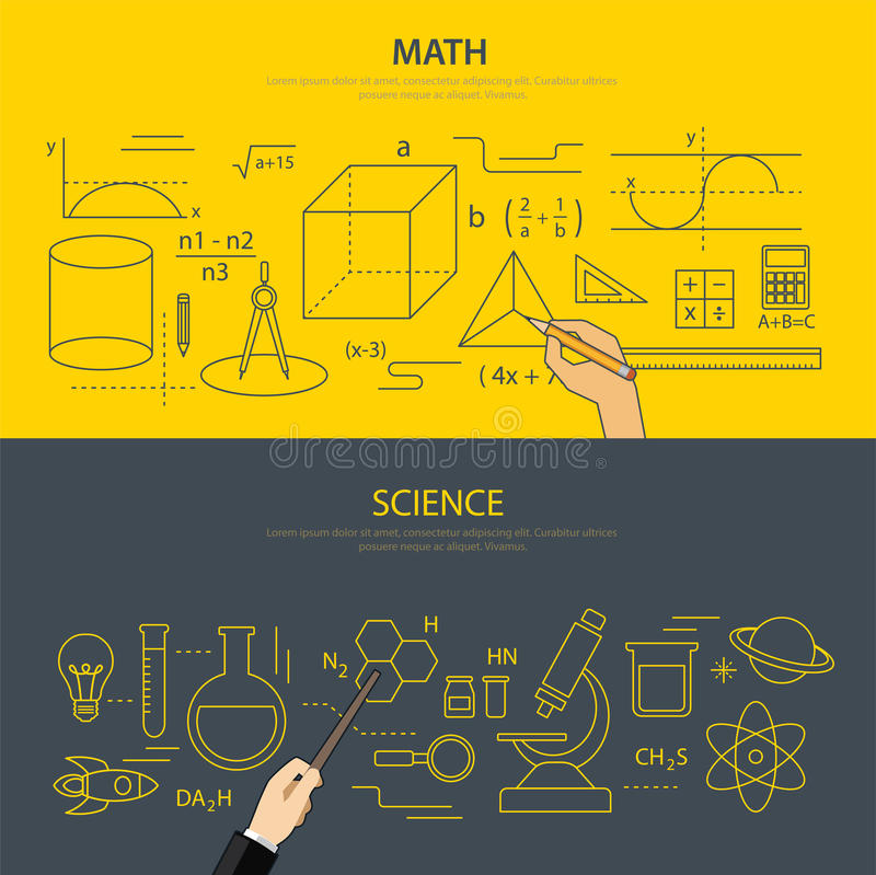 Концепция образования математики и науки иллюстрация штока