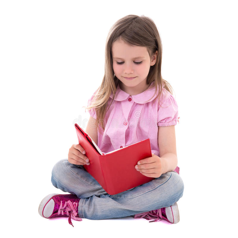 Концепция образования - милая маленькая девочка при книга изолированная на белизне стоковые изображения rf