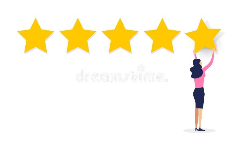 Концепция обратной связи опыта потребителя иллюстрации вектора Клиент женщин мультфильма давая оценку 5 звезд Перечень обзора на  иллюстрация вектора