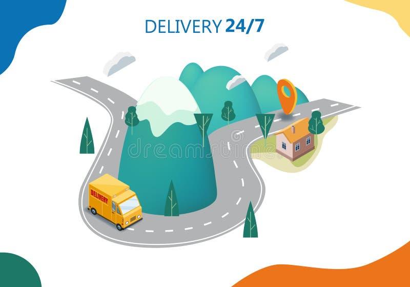 Концепция обслуживания доставки, тележка, фургон, люди покупателя, дорога гор ландшафта, иллюстрация вектора 3d равновеликая, онл иллюстрация штока