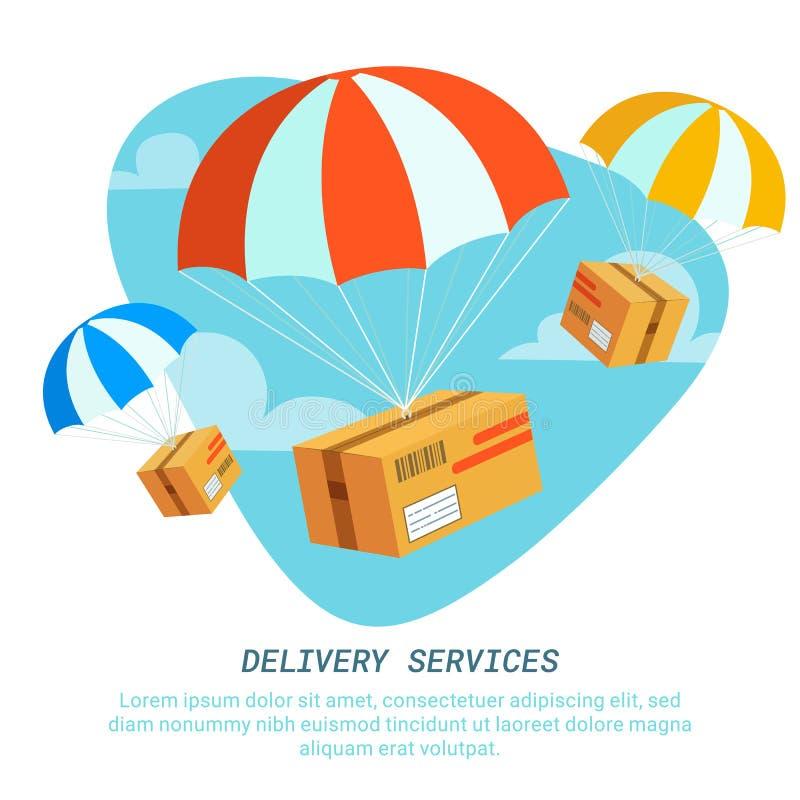 Концепция обслуживания поставки Плоский дизайн покрасил иллюстрацию вектора пакета с парашютом поставка голодает обслуживание бесплатная иллюстрация