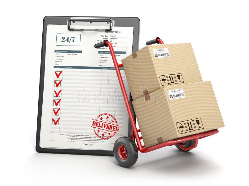 Концепция обслуживания поставки Ручная тележка с коробкой пакета cardboar иллюстрация вектора