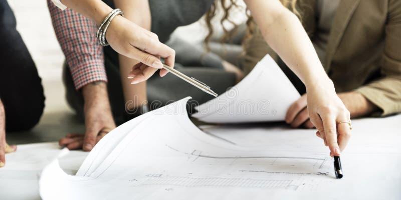 Концепция обсуждения встречи дизайн-проекта архитектора стоковая фотография rf