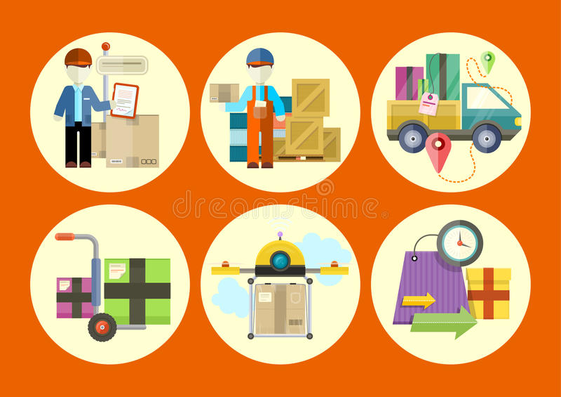 Концепция обслуживаний в товарах поставки иллюстрация штока