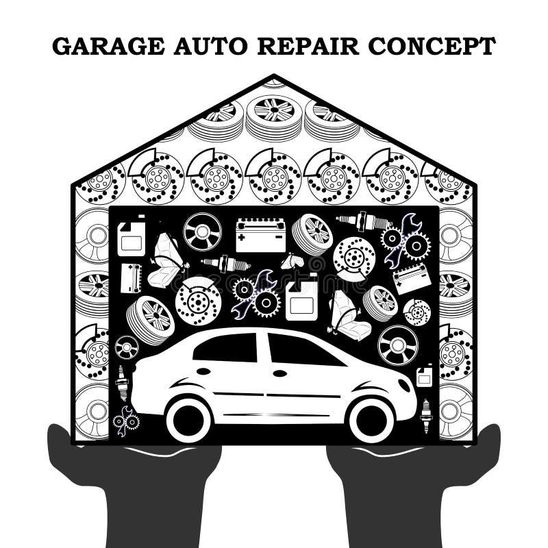Концепция обслуживаний ремонта автомобилей черная с значками автомобиля и запасными частями в гараже в протягиванных вне ладонях  иллюстрация штока