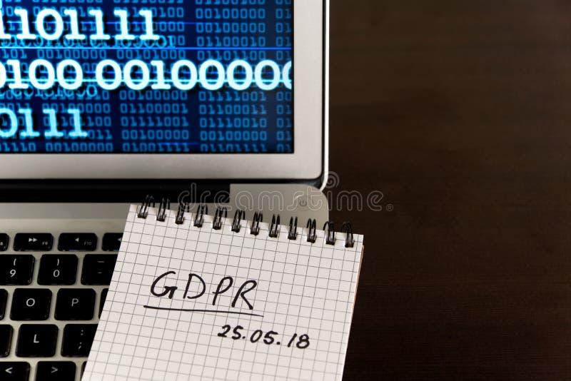 Концепция общей защиты данных регулированная GDPR - новый закон в 201 стоковая фотография rf